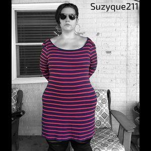 Old Navy Navy & Red Stripe Dress